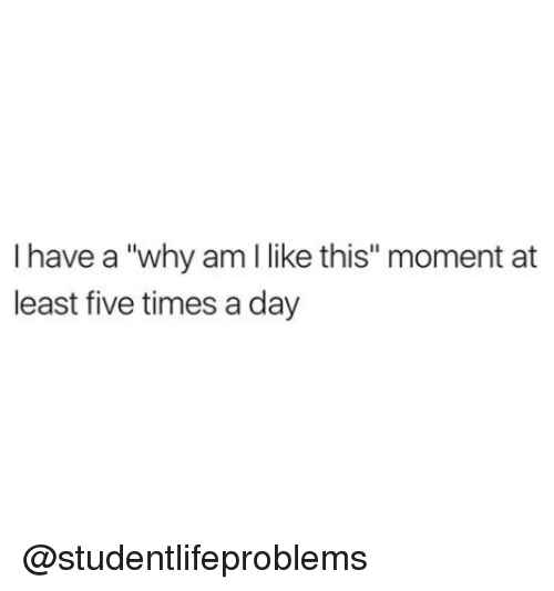 """Why Am I Like This: I have a """"why am I like this"""" moment at  least five times a day @studentlifeproblems"""