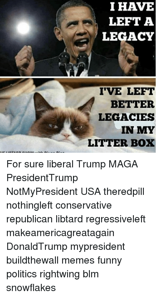 litter box: I HAVE  LEFT A  LEGACY  IVE LEFT  BETTER  LEGACIES  IN MY  LITTER BOX For sure liberal Trump MAGA PresidentTrump NotMyPresident USA theredpill nothingleft conservative republican libtard regressiveleft makeamericagreatagain DonaldTrump mypresident buildthewall memes funny politics rightwing blm snowflakes