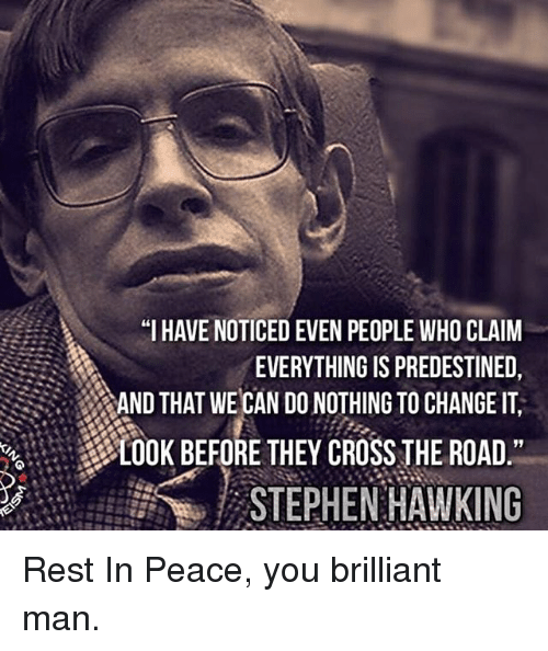 """Memes, Stephen, and Stephen Hawking: """"I HAVE NOTICED EVEN PEOPLE WHO CLAIM  EVERYTHING IS PREDESTINED,  AND THAT WE CAN DO NOTHING TO CHANGE IT  LOOK BEFORE THEY CROSS THE ROAD  STEPHEN HAWKING Rest In Peace, you brilliant man."""