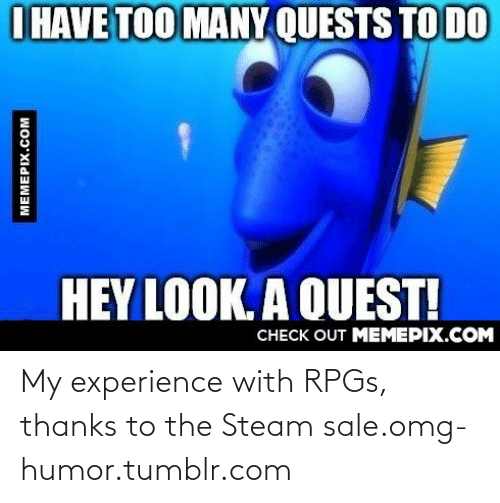 Steam Sale: I HAVE TOO MANY QUESTS TO DO  HEY LOOK. A QUEST!  CHECK OUT MEMEPIX.COM  MEMEPIX.COM My experience with RPGs, thanks to the Steam sale.omg-humor.tumblr.com