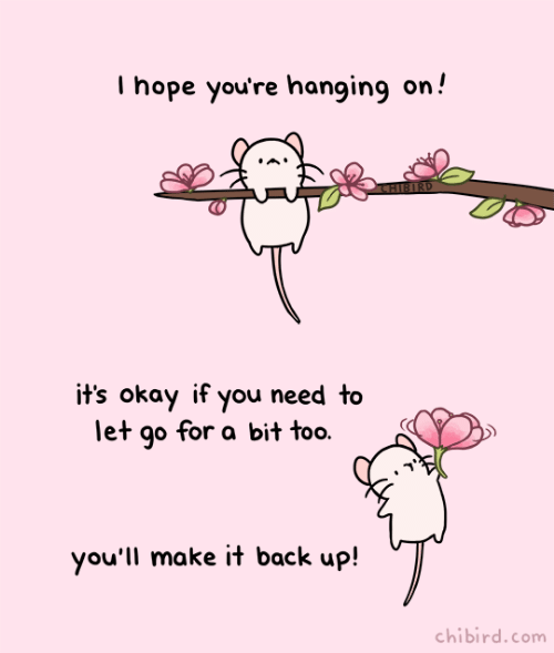Okay, Hope, and Back: I hope you're hanging on!'  it's okay if you need to  let go for a bit too  you'll make it back up!  chibird.com
