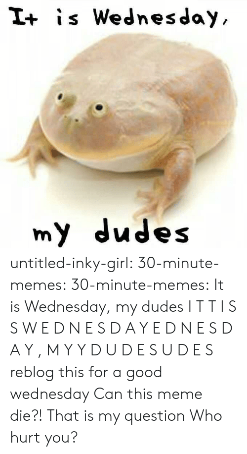 Meme, Memes, and Tumblr: I+ is Wednesday  my dudes untitled-inky-girl: 30-minute-memes:   30-minute-memes: It is Wednesday, my dudes I T T  I S S  W E D N E S D A Y E D N E S D A Y ,  M Y Y  D U D E S U D E S  reblog this for a good wednesday    Can this meme die?! That is my question  Who hurt you?