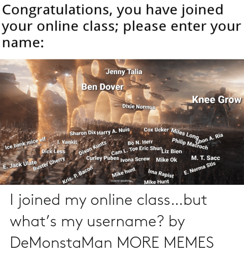 S My: I joined my online class…but what's my username? by DeMonstaMan MORE MEMES