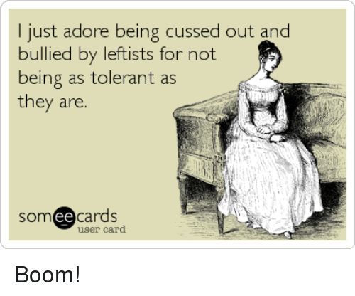 Memes, Boom, and 🤖: I just adore being cussed out and  bullied by leftists for not  being as tolerant as  they are.  somee cards  user card Boom!