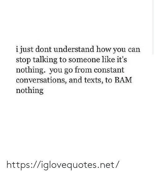 Talking To: i just dont understand how you can  stop talking to someone like it's  nothing. you go from constant  conversations, and texts, to BAM  nothing https://iglovequotes.net/