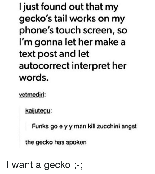 zucchini: I just found out that my  gecko's tail works on my  phone's touch screen, so  l'm gonna let her make a  text post and let  autocorrect interpret her  words.  vetmedirl:  kaijutegu:  Funks go o y y man kill zucchini angst  the gecko has spoken <p>I want a gecko ;-;</p>