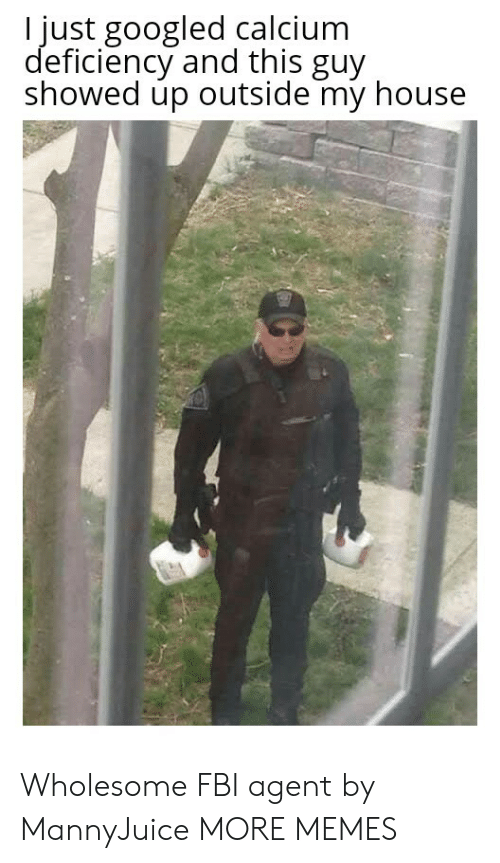 calcium: I just googled calcium  deficiency and this guy  showed up outside my house Wholesome FBI agent by MannyJuice MORE MEMES