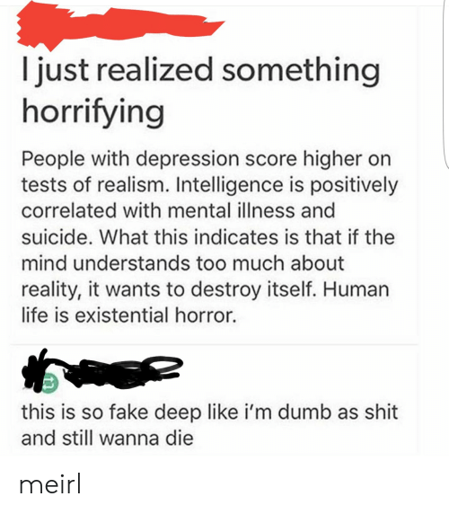 Dumb, Fake, and Life: I just realized something  horrifying  People with depression score higher on  tests of realism. Intelligence is positively  correlated with mental illness and  suicide. What this indicates is that if the  mind understands too much about  reality, it wants to destroy itself. Human  life is existential horror.  this is so fake deep like i'm dumb as shit  and still wanna die meirl