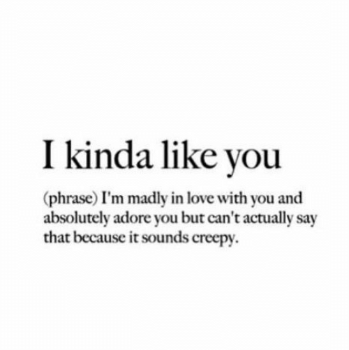 Creepy, Love, and Adore: I kinda like you  (phrase) I'm madly in love with you and  absolutely adore you but can't actually say  that because it sounds creepy