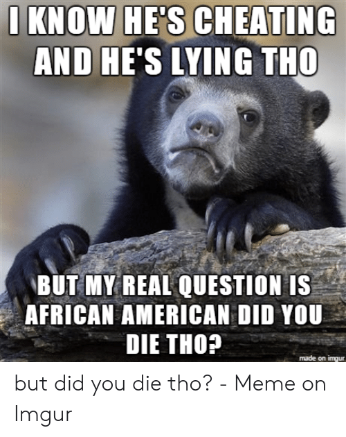But Did You Die Tho: I KNOW HE'S CHEATING  AND HE'S LYING THO  BUT MY REAL QUESTION IS  AFRICAN AMERICAN DID YOU  DIE THO?  made on imgur