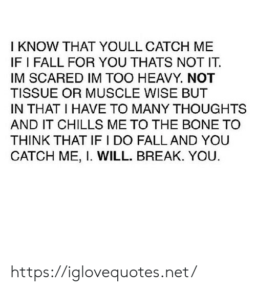 chills: I KNOW THAT YOULL CATCH ME  IF I FALL FOR YOU THATS NOT IT  IM SCARED IM TOO HEAVY. NOT  TISSUE OR MUSCLE WISE BUT  IN THAT I HAVE TO MANY THOUGHTS  AND IT CHILLS ME TO THE BONE TO  THINK THAT IF I DO FALL AND YOU  CATCH ME, I. WILL. BREAK. YOU https://iglovequotes.net/