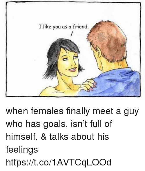 Goals, Memes, and 🤖: I like you as a friend. when females finally meet a guy who has goals, isn't full of himself, & talks about his feelings https://t.co/1AVTCqLOOd