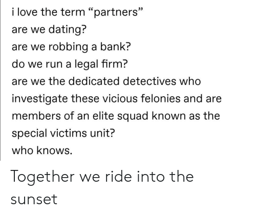 "Vicious: i love the term ""partners""  are we dating?  are we robbing a bank?  do we run a legal firm?  are we the dedicated detectives who  investigate these vicious felonies and are  members of an elite squad known as the  special victims unit?  who knows. Together we ride into the sunset"