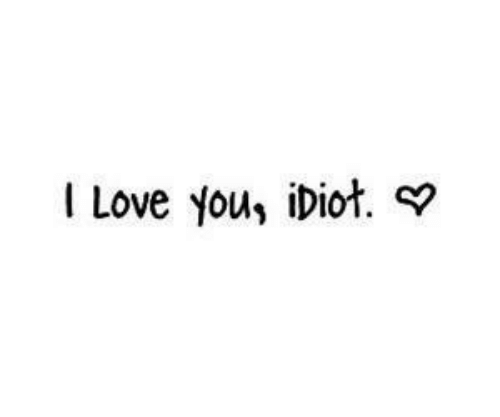 you idiot: I Love you, iDiot.