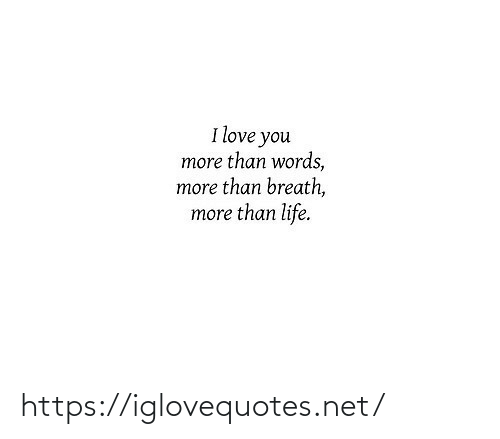 Life, Love, and I Love You: I love you  more than words,  more than breath,  more than life. https://iglovequotes.net/