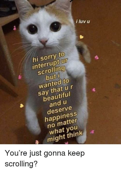 Keep Scrolling: i luv u  hi sorry to  interrupt ur  scrolling  wanted to  say that ur  beautiful  and u  deserve  happiness  no matter  what you  a might thinka  9 You're just gonna keep scrolling?