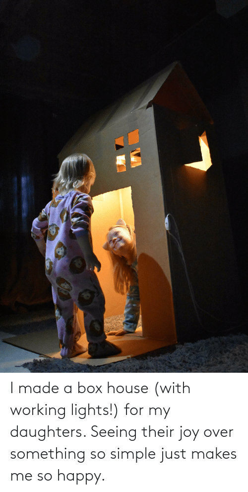 Daughters: I made a box house (with working lights!) for my daughters. Seeing their joy over something so simple just makes me so happy.