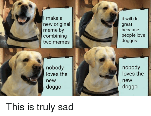 Love, Meme, and Memes: I make a  new original  meme by  combining  two memes  it will do  great  because  people love  doggos  nobody  loves the  new  doggo  nobody  loves the  new  doggo This is truly sad