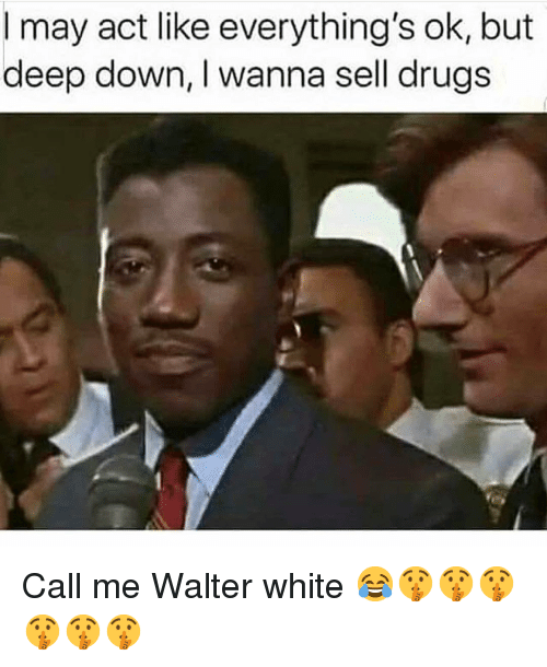 Drugs, Funny, and Walter White: I may act like everything's ok, but  deep down, I wanna sell drugs Call me Walter white 😂🤫🤫🤫🤫🤫🤫