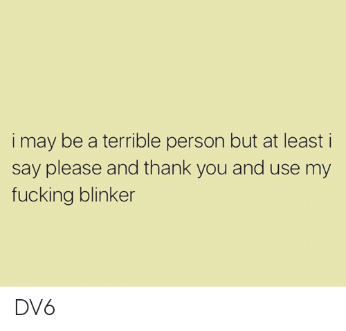 Terrible Person: i may be a terrible person but at least i  say please and thank you and use my  fucking blinker DV6