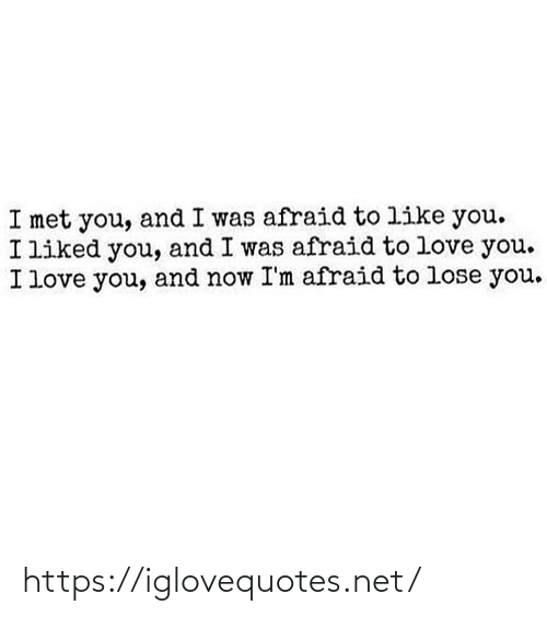I Liked: I met you, and I was afraid to like you.  I liked you, and I was afraid to love you.  I love you, and now I'm afraid to lose you. https://iglovequotes.net/