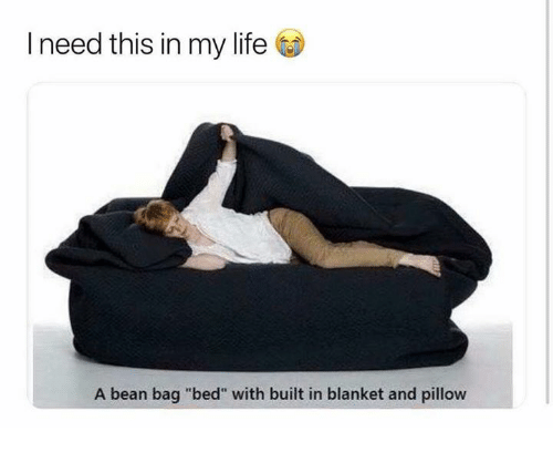 """Life, Relationships, and Bean: I need this in my life  A bean bag """"bed"""" with built in blanket and pillow"""