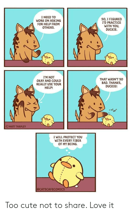 Protect You: I NEED TO  WORK ON ASKING  FOR HELP FROM  OTHERS  SO, I FIGURED  I'D PRACTICE  WITH YOU  DUCKIE  I'M NOT  OKAY AND COULD  REALLY USE YOUR  HELP!  THAT WASN'T so  BAD. THANKS,  DUCKIE!  PAT  PAT  MATT TARPLEY  I WILL PROTECT YOU  WITH EVERY FIBER  OF MY BEING  @CATSCAFECOMICS Too cute not to share. Love it