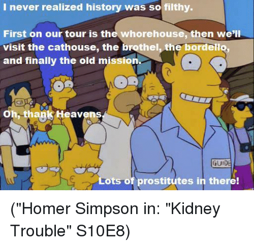 "Homer Simpson: I never realized history was so filthy.  First on our tour is the whorehouse, then we'll  visit the cathouse, the brothel, the bordello,  and finally the old mission  Oh, thank Heavens  GUI  ts of prostitutes in there! (""Homer Simpson in: ""Kidney Trouble"" S10E8)"