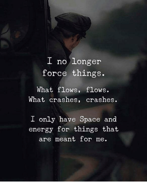 Energy, Space, and Force: I no longer  force things.  What flows, flows.  What crashes, crashes.  I only have Space and  energy for things that  are meant or me.