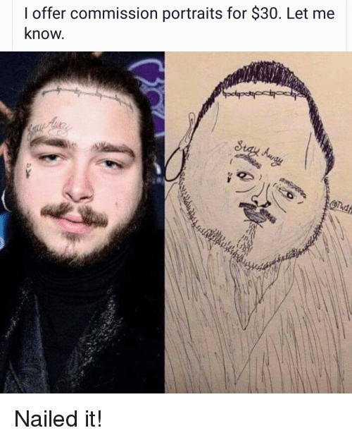 Funny, For, and Nailed It: I offer commission portraits for $30. Let me  know Nailed it!