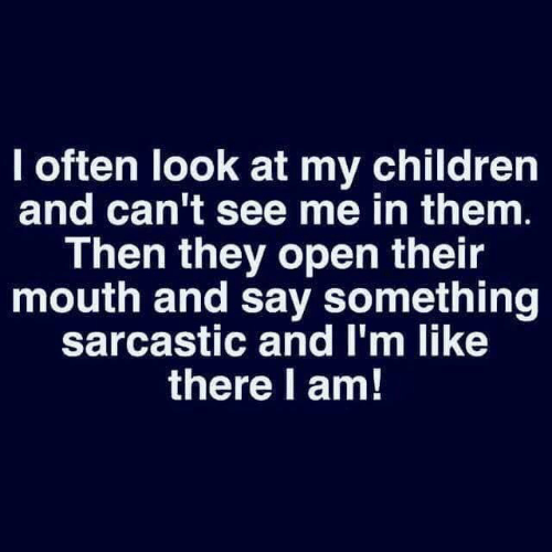 sarcastic: I often look at my children  and can't see me in them.  Then they open their  mouth and say something  sarcastic and I'm like  there l am!