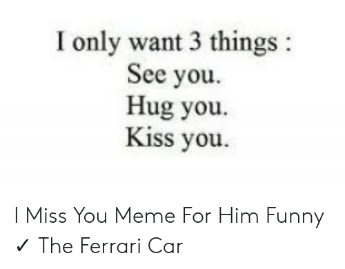 I Only Want 3 Things See You Hug You Kiss You I Miss You Meme For