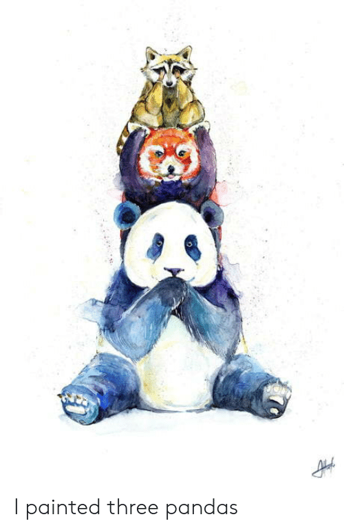 Pandas, Three, and  Painted: I painted three pandas
