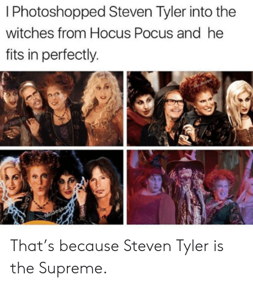 Supreme: I Photoshopped Steven Tyler into the  witches from Hocus Pocus and he  fits in perfectly.  Esaro  McJess That's because Steven Tyler is the Supreme.
