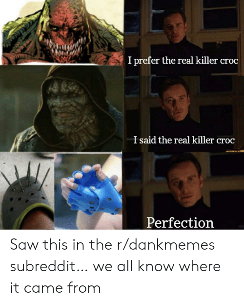 Killer Croc, Saw, and The Real: I prefer the real killer croc  I said the real killer croc  Perfection Saw this in the r/dankmemes subreddit… we all know where it came from