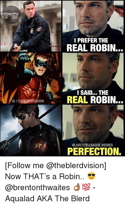 Memes, Justice, and Justice League: I PREFER THE  REAL ROBIN.  I SAID... THE  REAL ROBIN..  THEBLERDVISION  @JUSTICE.LEAGUE.MEMES  PERFECTION. [Follow me @theblerdvision] Now THAT's a Robin.. 😎 @brentonthwaites 👌🏾💯 - Aqualad AKA The Blerd