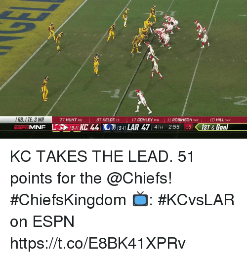 lar: I RB, I TE, 3 WR  ESF iMNF  27 HUNT RB  87 KELCE TE  17 CONLEY WR 11 ROBINSON WR  10 HILL WR  [9-1] KC 44 11) [9-1] LAR 47 4TH  2:55  15く1ST & Goal KC TAKES THE LEAD.  51 points for the @Chiefs! #ChiefsKingdom  📺: #KCvsLAR on ESPN https://t.co/E8BK41XPRv