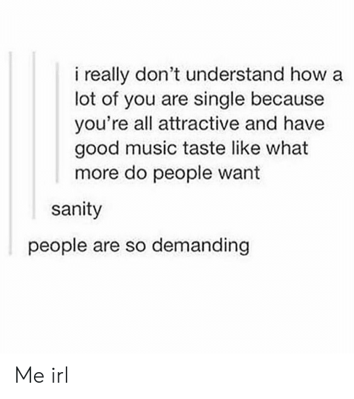 Music Taste: i really don't understand how a  lot of you are single because  you're all attractive and have  good music taste like what  more do people want  sanity  people are so demanding Me irl