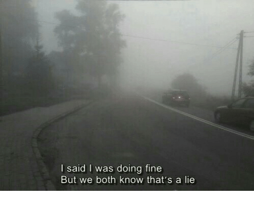 Thats A Lie: I said I was doing fine  But we both know that's a lie