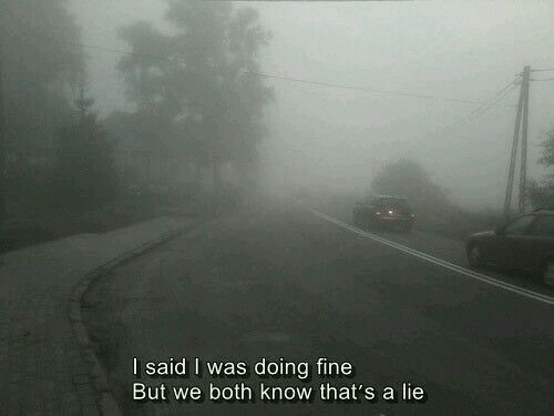 Lie, Fine, and  Know: I said I was doing fine  But we both know that's a lie