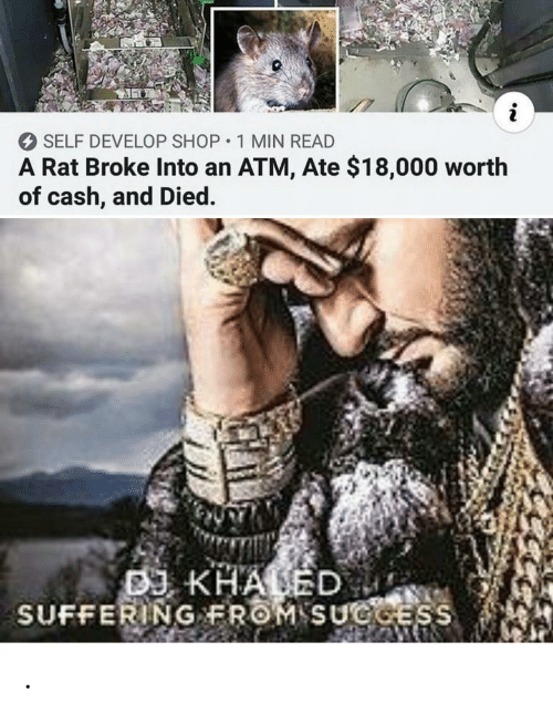 DJ Khaled, Khaled, and Suffering: i  SELF DEVELOP SHOP 1 MIN READ  A Rat Broke Into an ATM, Ate $18,000 worth  of cash, and Died.  DJ KHALED  SUFFERING FROM SUGGESS .