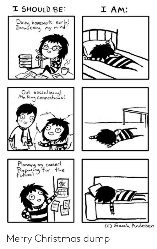 doing homework: I SHOULD BE:  I AM:  Doing homework early!  Broadening my mind!  Out socializing!  Ma king connections!  Planning my career!  Preparing for the  future!  (C) Sarah Andersen Merry Christmas dump