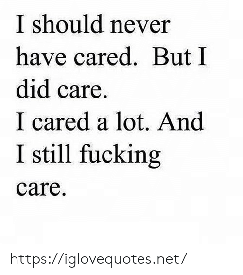 Fucking, Never, and Net: I should never  have cared. But I  did care.  I cared a lot. And  I still fucking  care https://iglovequotes.net/