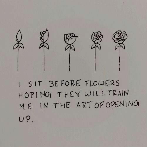 Flowers, Train, and Open: I SIT BE FORE FLOWERS  HOPIN THEY WILL TRAIN  ME IN THE ARTOF OPEN NG  UP.