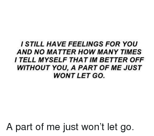 A Part Of Me: I STILL HAVE FEELINGS FOR YOU  AND NO MATTER HOW MANY TIMES  I TELL MYSELF THAT IM BETTER OFF  WITHOUT YOU, A PART OF ME JUST  WONT LET GO A part of me just won't let go.