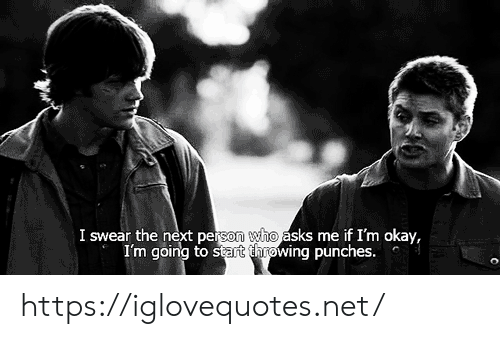 Okay, Asks, and Net: I swear the next person who asks me if I'm okay,  I'm going to start throwing punches. https://iglovequotes.net/