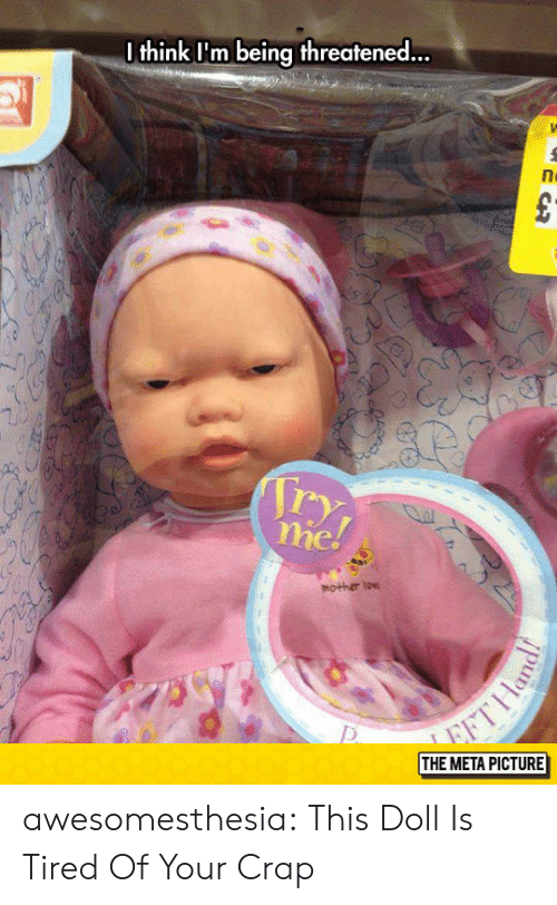 Tumblr, Blog, and Mother: I think I'm being threatened...  mother low  THE META PICTURE awesomesthesia:  This Doll Is Tired Of Your Crap