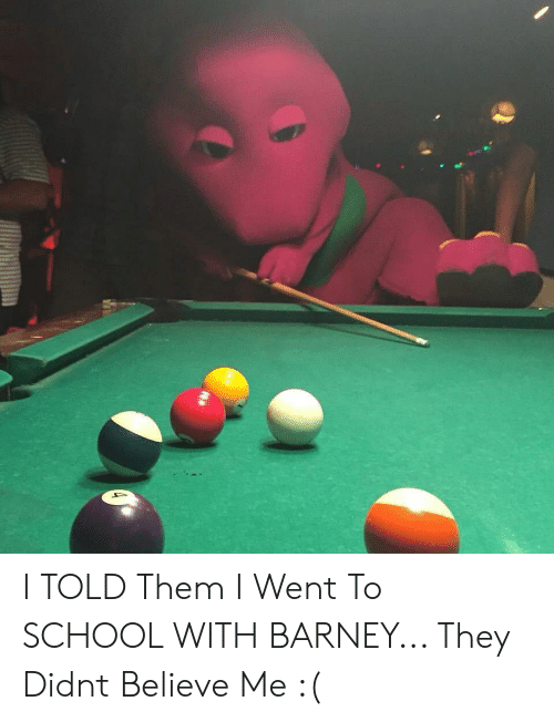 Barney, School, and Believe: I TOLD Them I Went To SCHOOL WITH BARNEY... They Didnt Believe Me :(