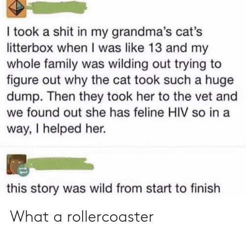 rollercoaster: I took a shit in my grandma's cat's  litterbox when I was like 13 and my  whole family was wilding out trying to  figure out why the cat took such a huge  dump. Then they took her to the vet and  we found out she has feline HIV so in a  way, I helped her.  this story was wild from start to finish What a rollercoaster