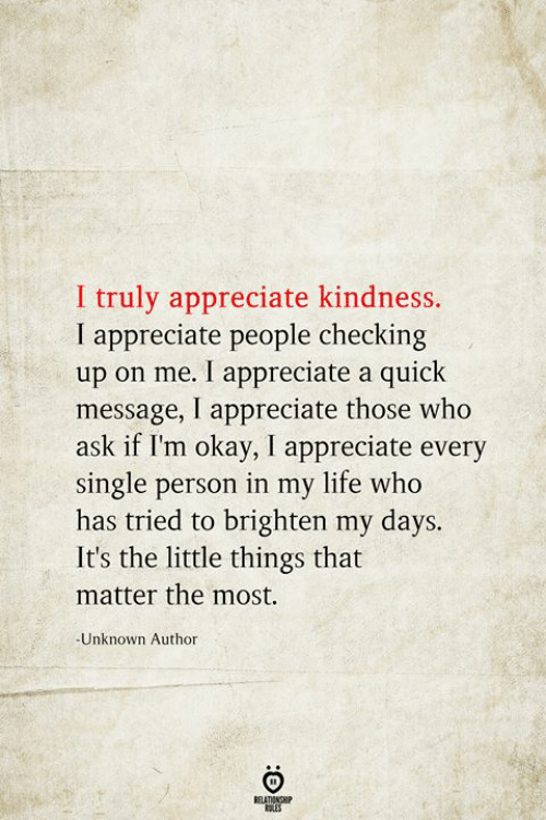 Life, Appreciate, and Okay: I truly appreciate kindness.  I appreciate people checking  up on me. I appreciate a quick  message, I appreciate those who  ask if I'm okay, I appreciate every  single person in my life who  has tried to brighten my days.  It's the little things that  matter the most.  -Unknown Author  BELATIONSHIP  LES  :O